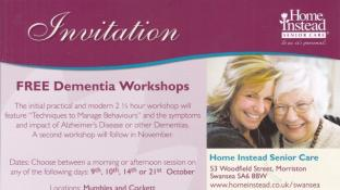 Swansea FREE Alzheimer's and Other Dementia's Workshop
