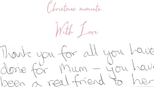 A lovely Christmas card message