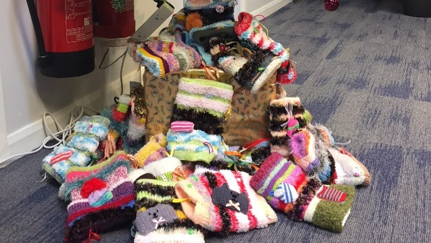 Twiddle Muff Knitters Maureen and Aunt in full swing for client's with Dementia