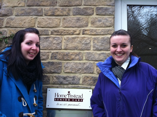 Caregivers Kate and Angharad ready for the snow