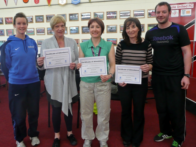 Jane, Lucy and Trish receive certificates from Sport Trafford