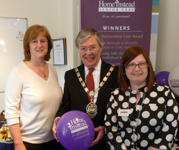 Maggie, Jo and Councillor Tim Dodds, Mayor of Surrey Heath