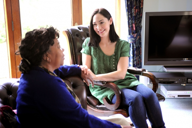 Caregiver talking to Client