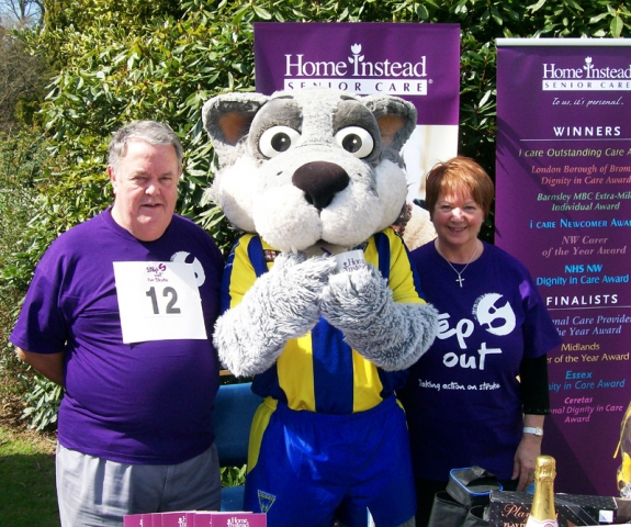 Pat and Bill with wolfie, the Warrington Wolves mascot