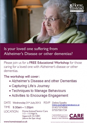 Family Dementia Workshop 31st July 2013