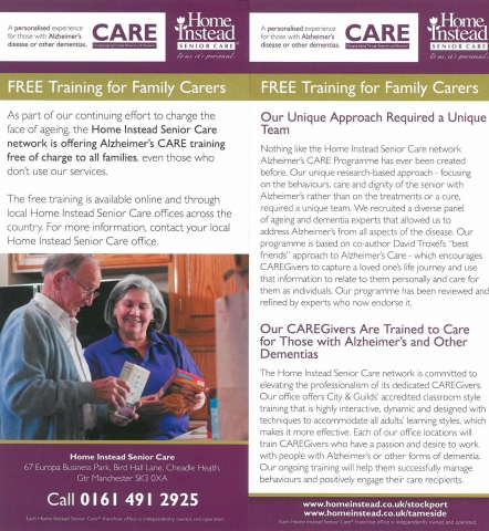 FREE Training for Family Carers Flier