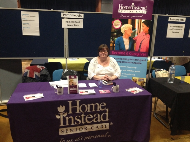 Debbie with the HISC stand at Sheffield University Job Fair