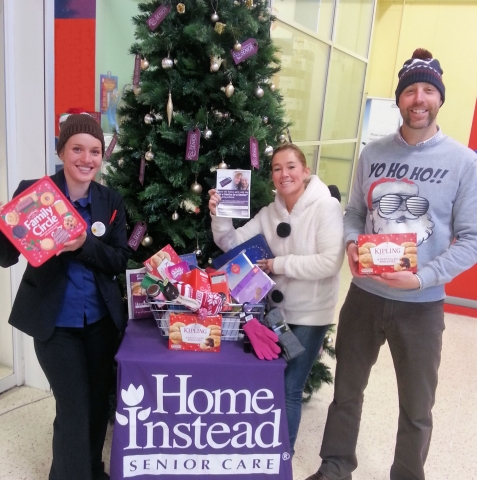 Amy, Beth & Mick collecting presents at Tesco