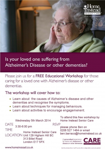 Free Dementia Workshop Flyer