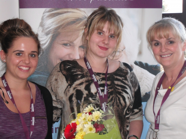 Sam Maison , Kirsty Woods - with her bouquet - and Gail Godson