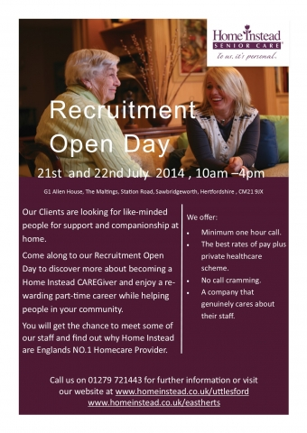 Recruitment Day 21st and 22nd July 2014 10am-4pm