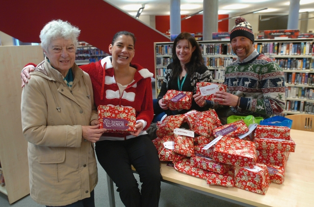 Presents being delivered to Oldham Library for distribution