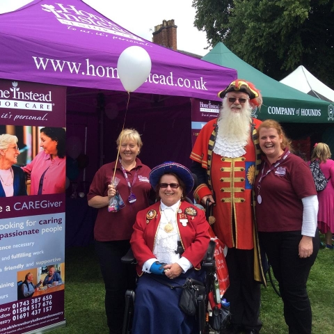 Rachael and Caroline with Shrewsbury Town Crier and his wife