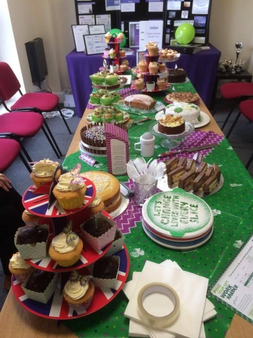 Our fantastic table full of donated cakes