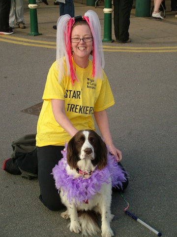 "Home Instead Wigan CAREgiver Tammie Love and her dog Poppy at the ""Star Trekkers"" midnight walk"