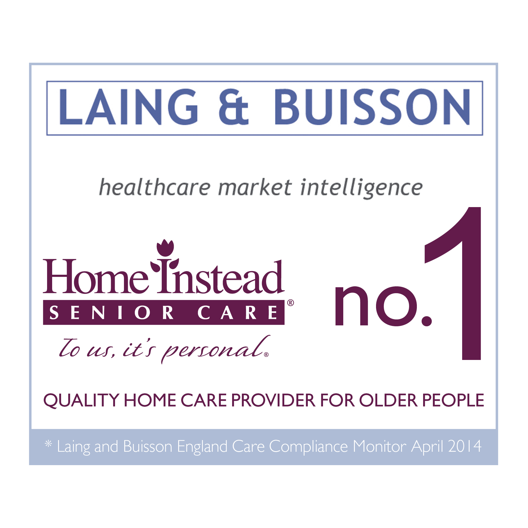 Laing & Buisson no.1 Quality Home Care Provider for Older People logo