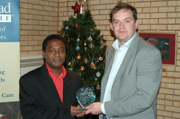 CAREgiver of the Year, Ade Ojele and Head of Care in Sawbridgeworth, David Bassett