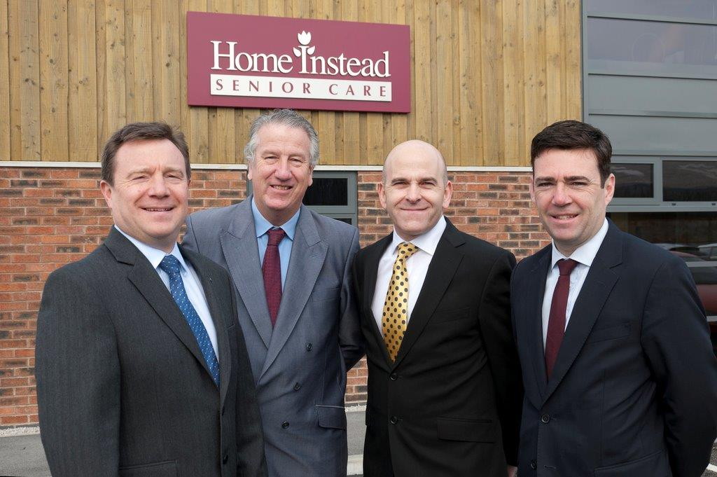 Home Instead CEO Trevor Brocklebank and Managing Director Martin Jones along with Shadow Health Secretary and MP for Leigh, Andy Burnham, and Warrington South MP, David Mowat