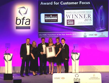 Home Instead Senior Care team picking up the top award for Customer Focus at the bfa national awards