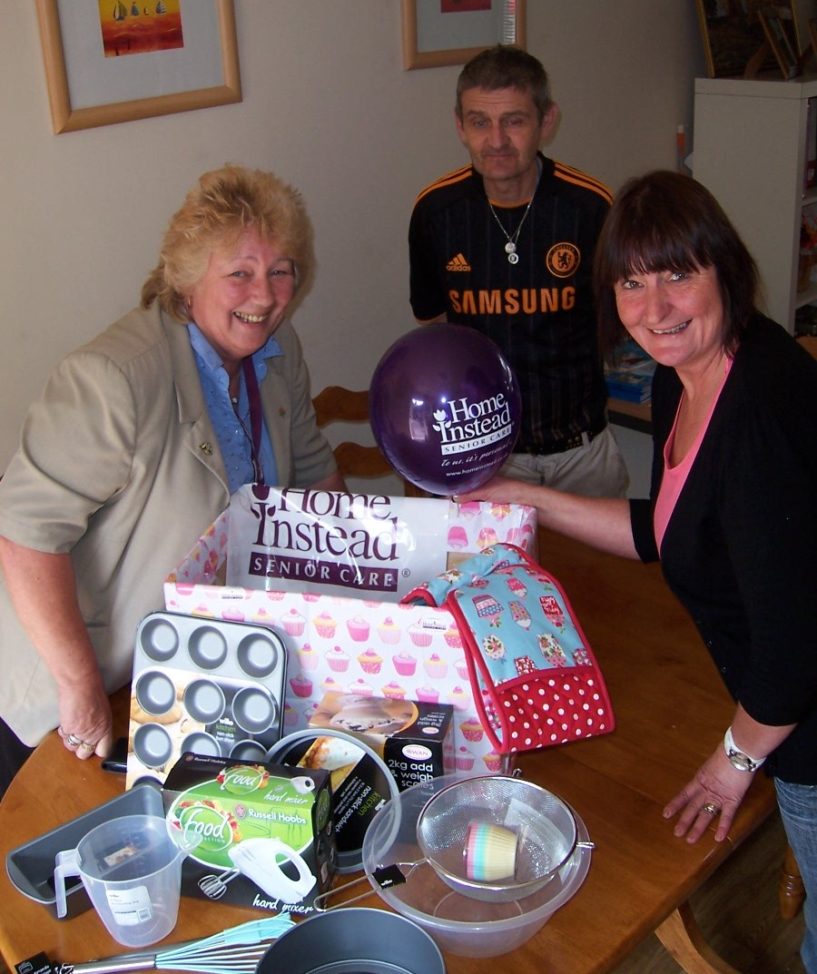 Home Instead Leek and Moorlands Care Manager Irene and Tombola winner Maggie from Rethink