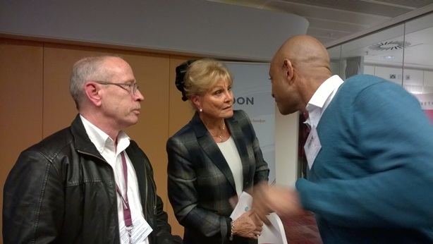 Home Instead Barnet owner Dale Bevington and Wandsworth owner Tony O'Flaherty, chatting with legendary dementia campaigner, Angela Rippon