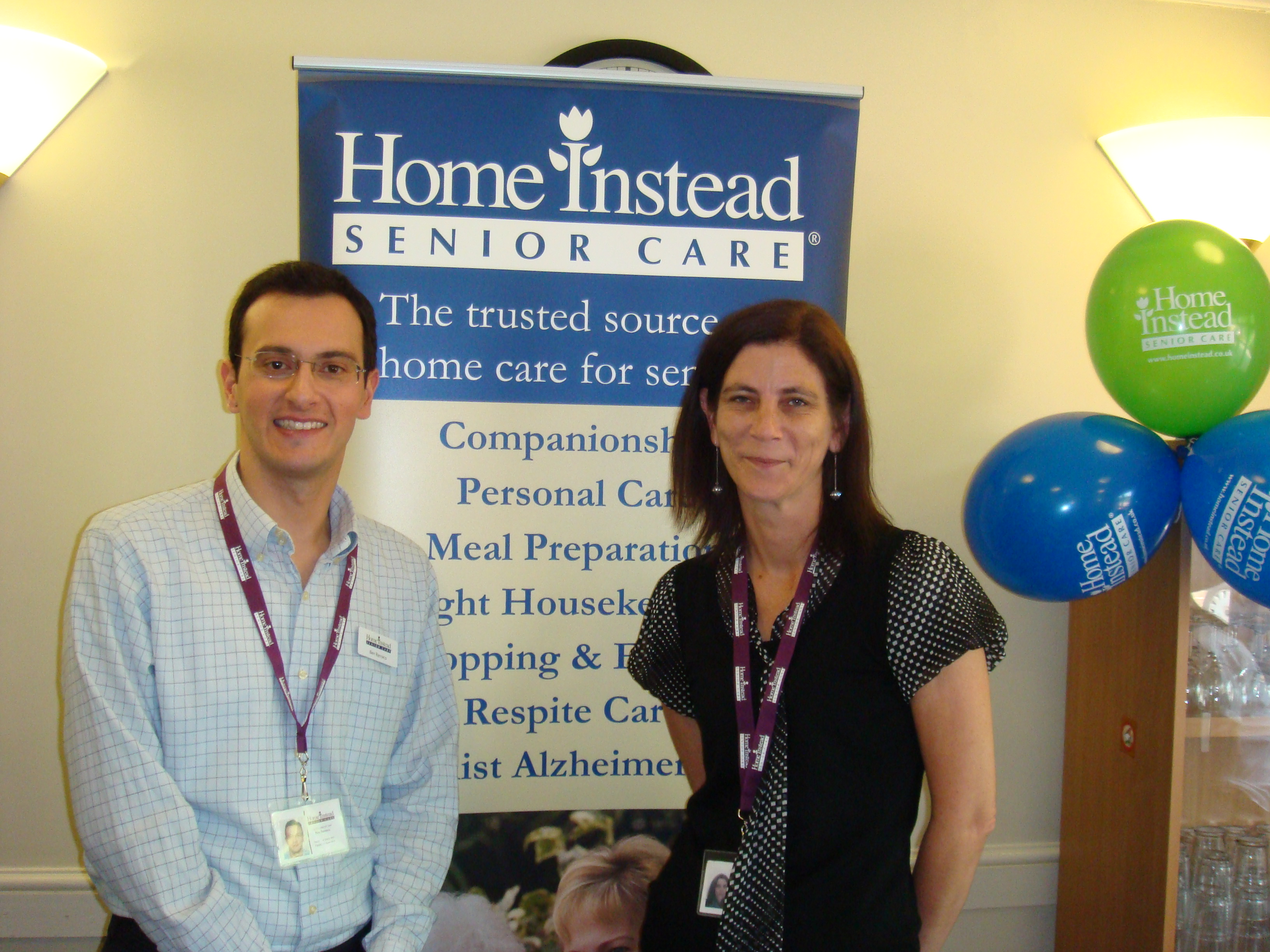 Home Instead Senior Care Waltham Forest owner Ben Barraco and Care Manager Mary Pearson at the World Alzheimer's Day celebration