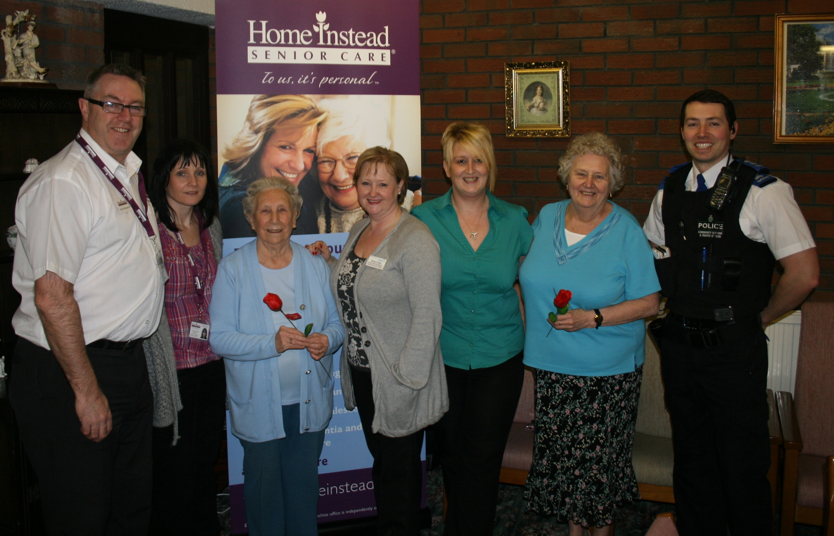 Home Instead St. Helens team members and residents of Raglan Court on Valentine's Day celebration