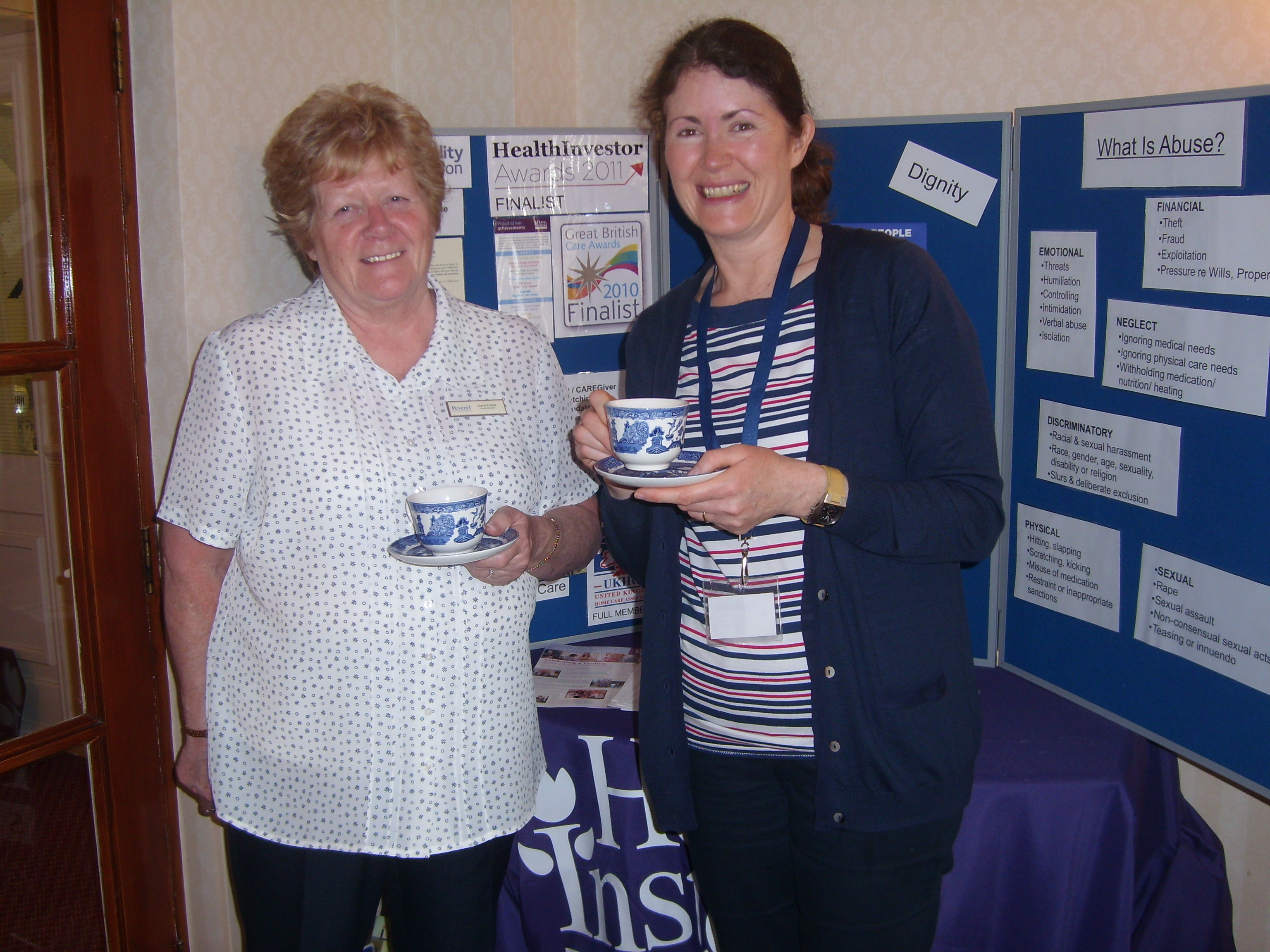 Home Instead Harrogate owner Sheena Van Parys and warden of the Adelphi development Dianne Fowler at the cake stall
