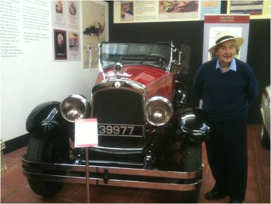 Home Instead 90-year-old client Michael at the Haynes Motor Museum