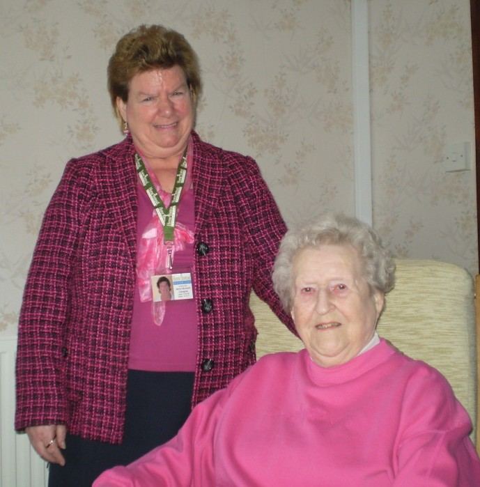 65-year-old Home Instead Stafford CAREgiver Jenny Murdoch and 81-year-old client Joyce Maclean