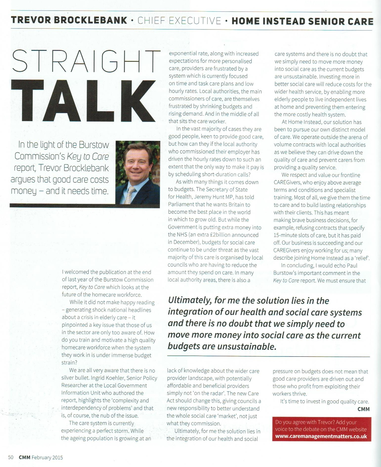 Home Instead Senior Care CEO, Trevor Brocklebank, featured in this month's edition of Care Management Matters