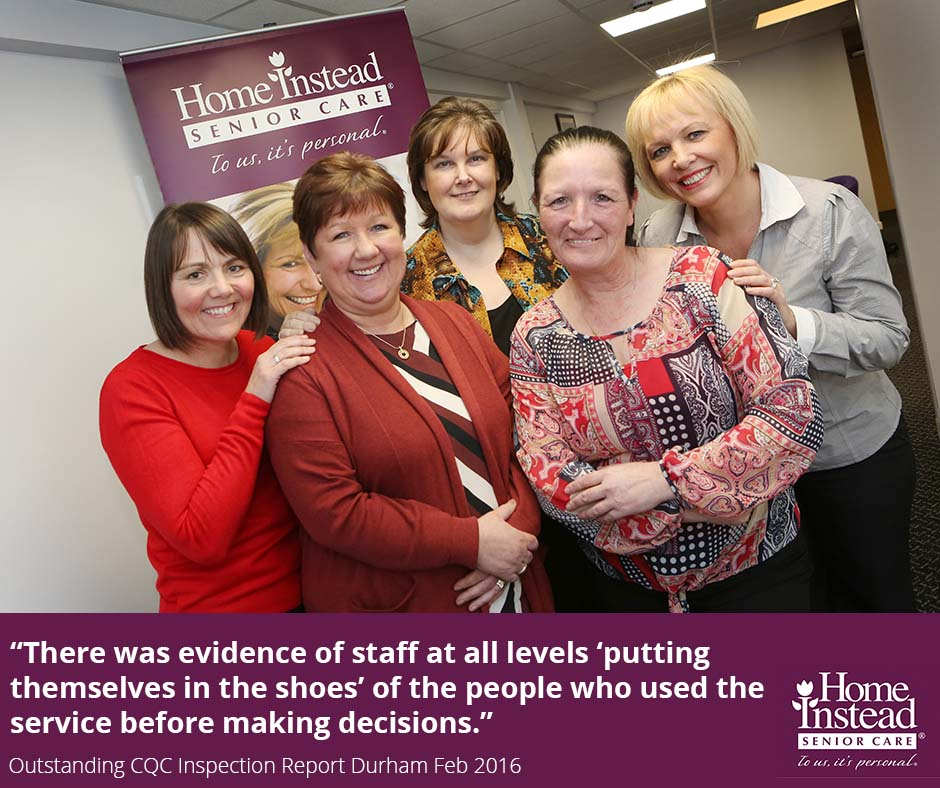 Home Instead Durham office team after being rated Outstanding by the CQC