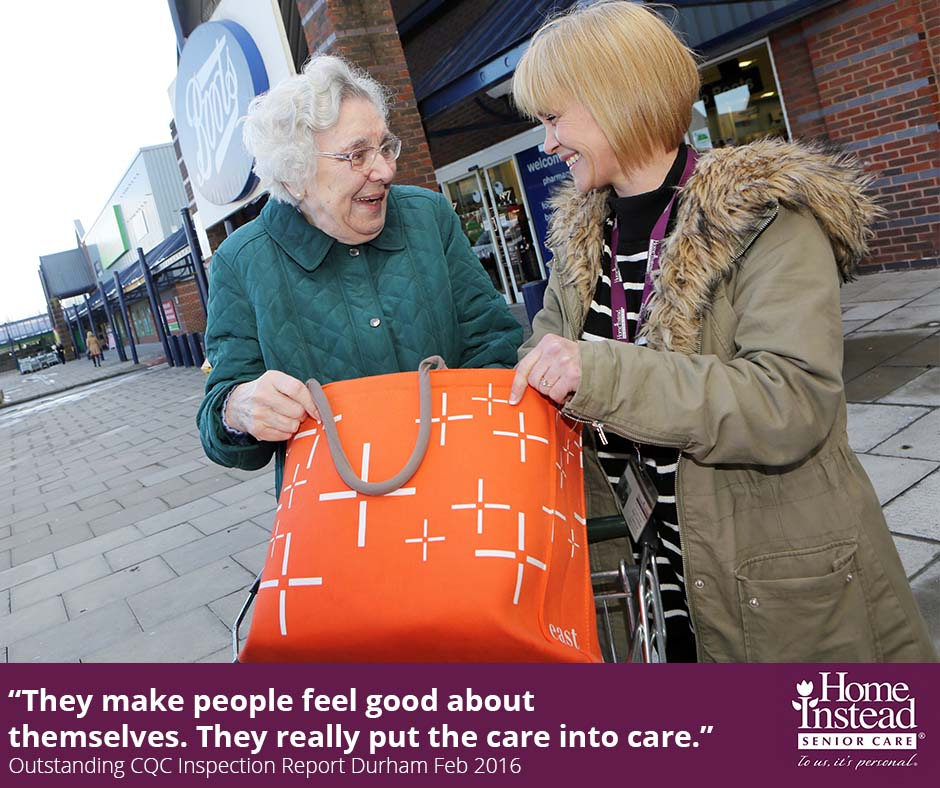 Home Instead Durham member providing elderly care to a client