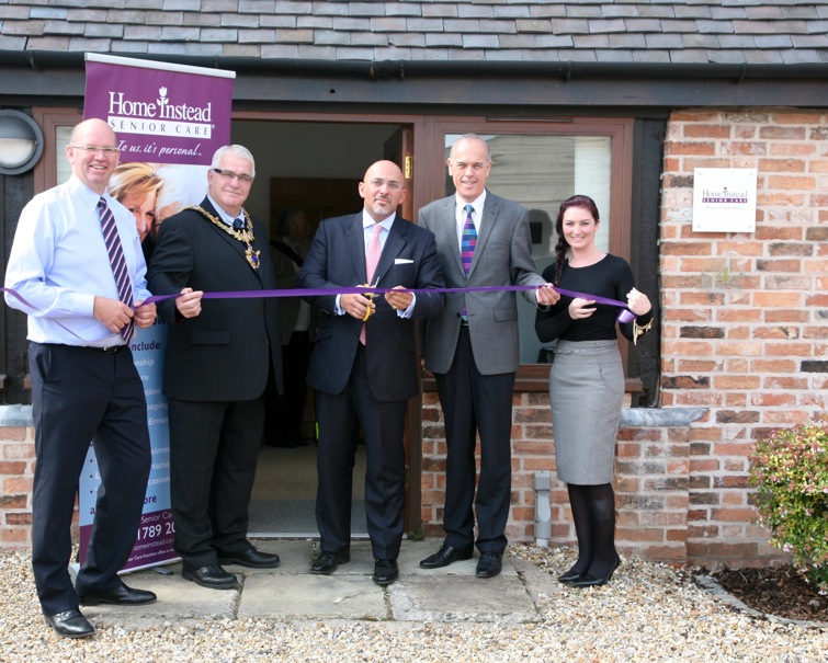 Home Instead Philip Maundrill, Mayor of Stratford upon Avon Bill Dowling, MP Nadhim Zahawi and company's open day attendees