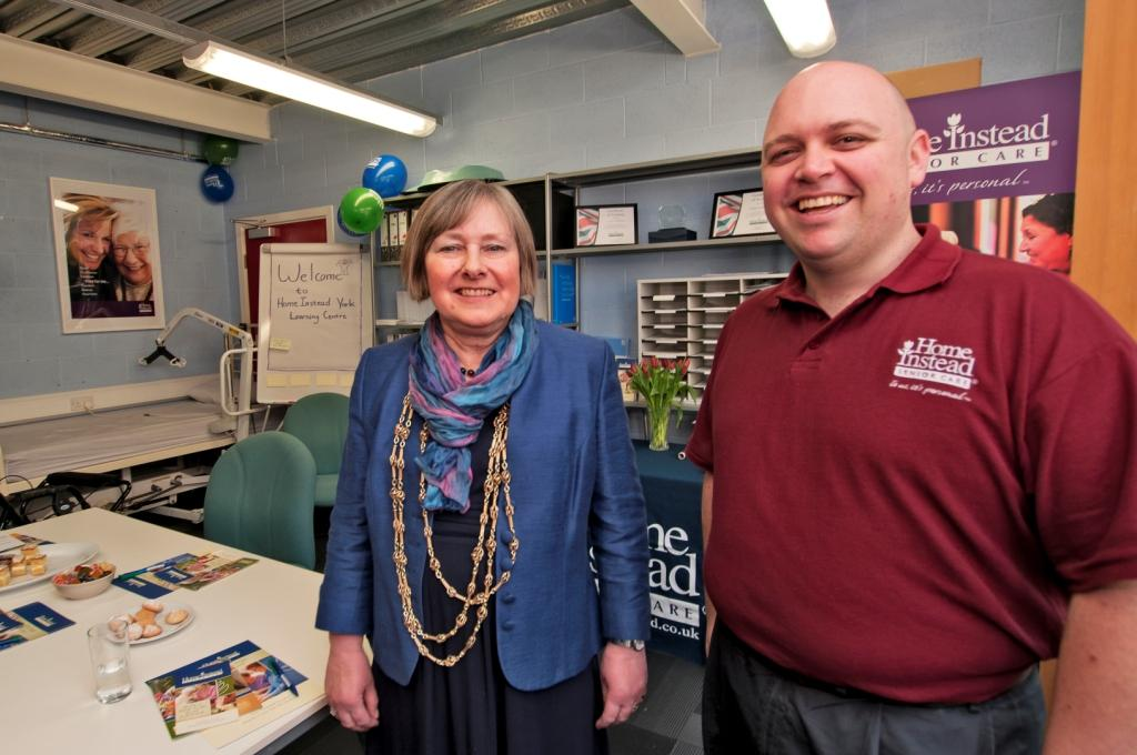 Home Instead York owner Luke Norbury and Lord Mayor of York, Councillor Susan Galloway