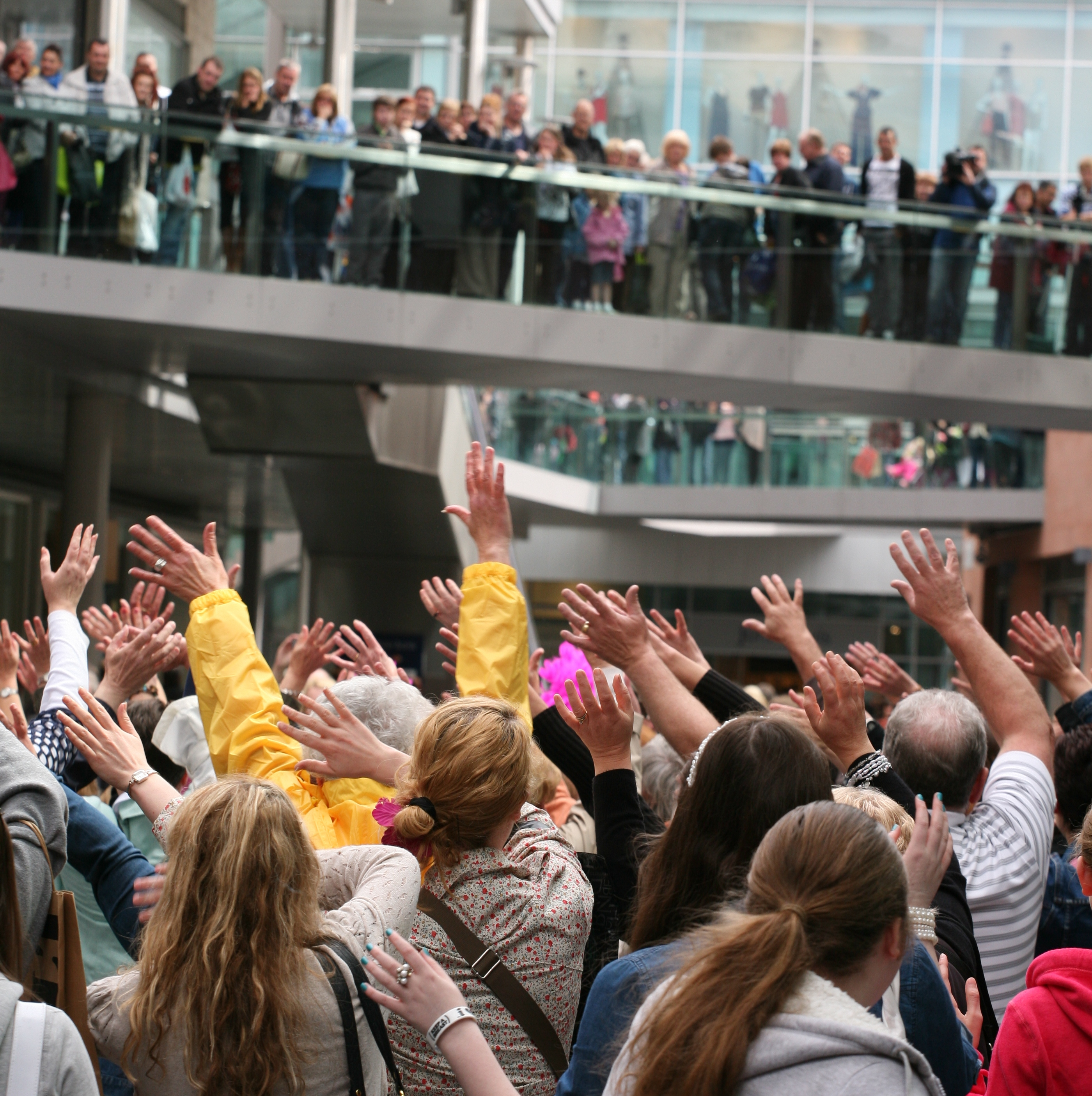 'Over 55's Flashmob' at at Liverpool One shopping centre, organized by Home Instead Liverpool Central and North