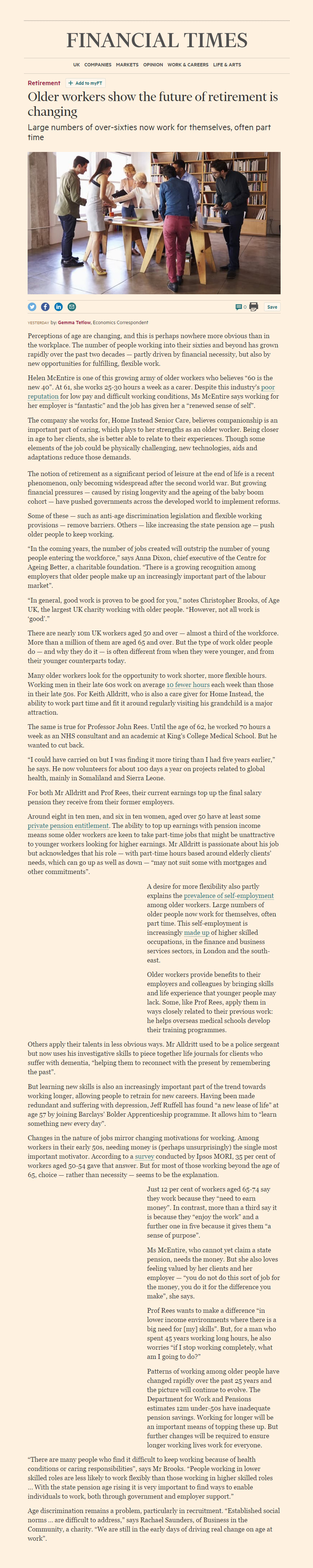 """Financial Times article: """"Older workers show the future of retirement is changing"""""""