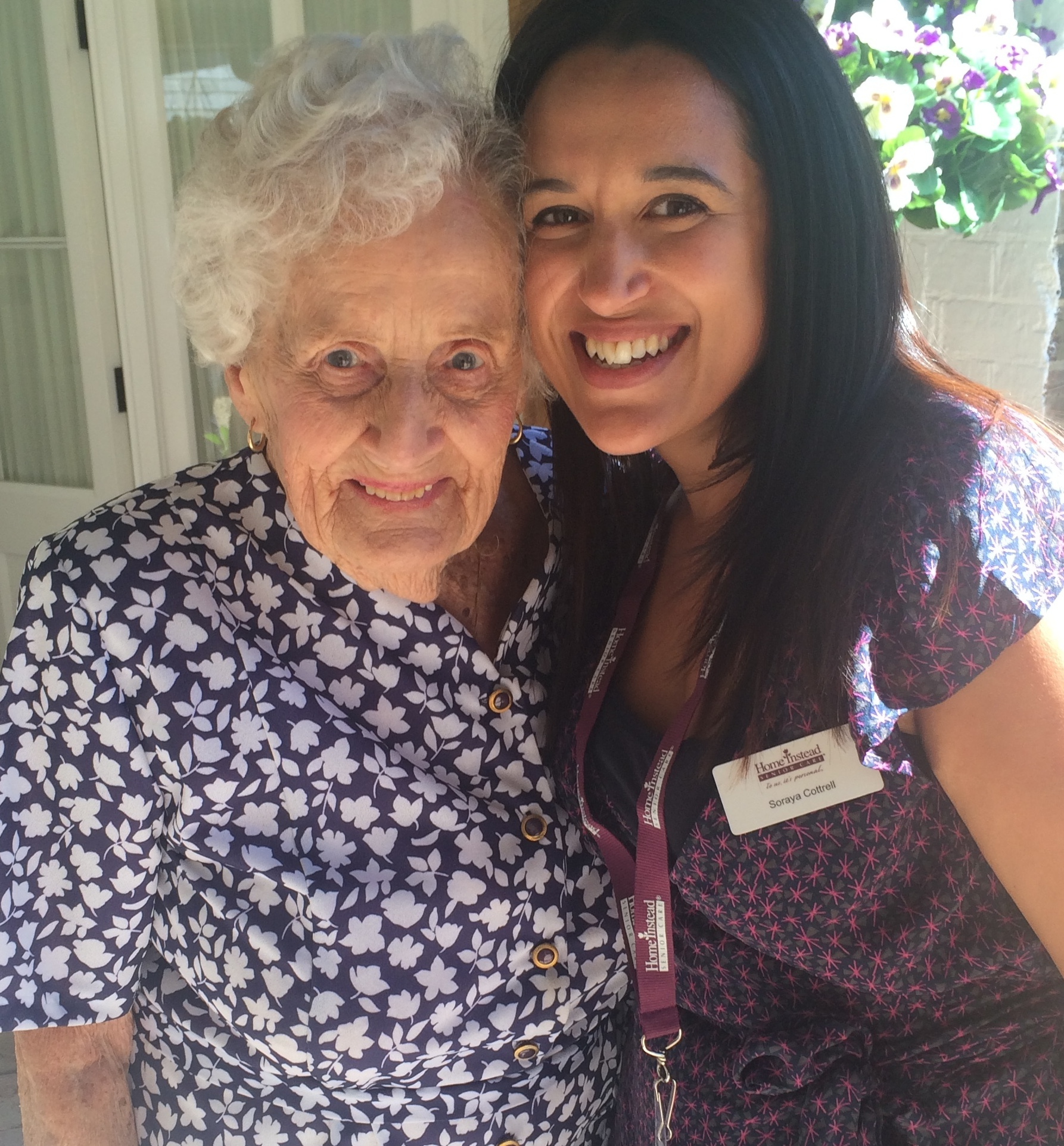 Elderly client Gwen Storey & CAREGiver Soraya Cottrell providing home care