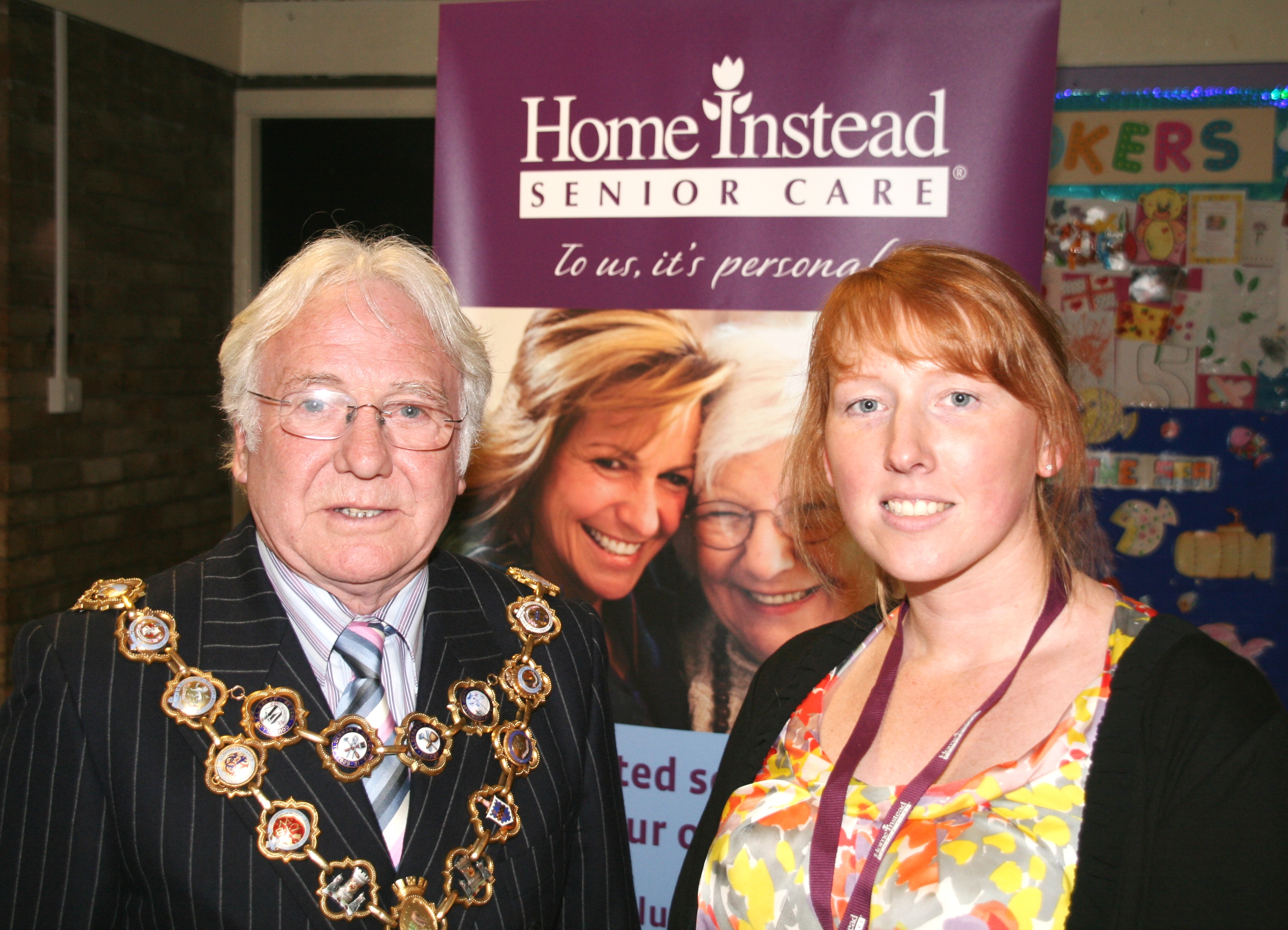 Home Instead Rochdale Care Manager Catherine Halliday with the Mayor Mr Alan Godson at the 'Healthy over 50s' event