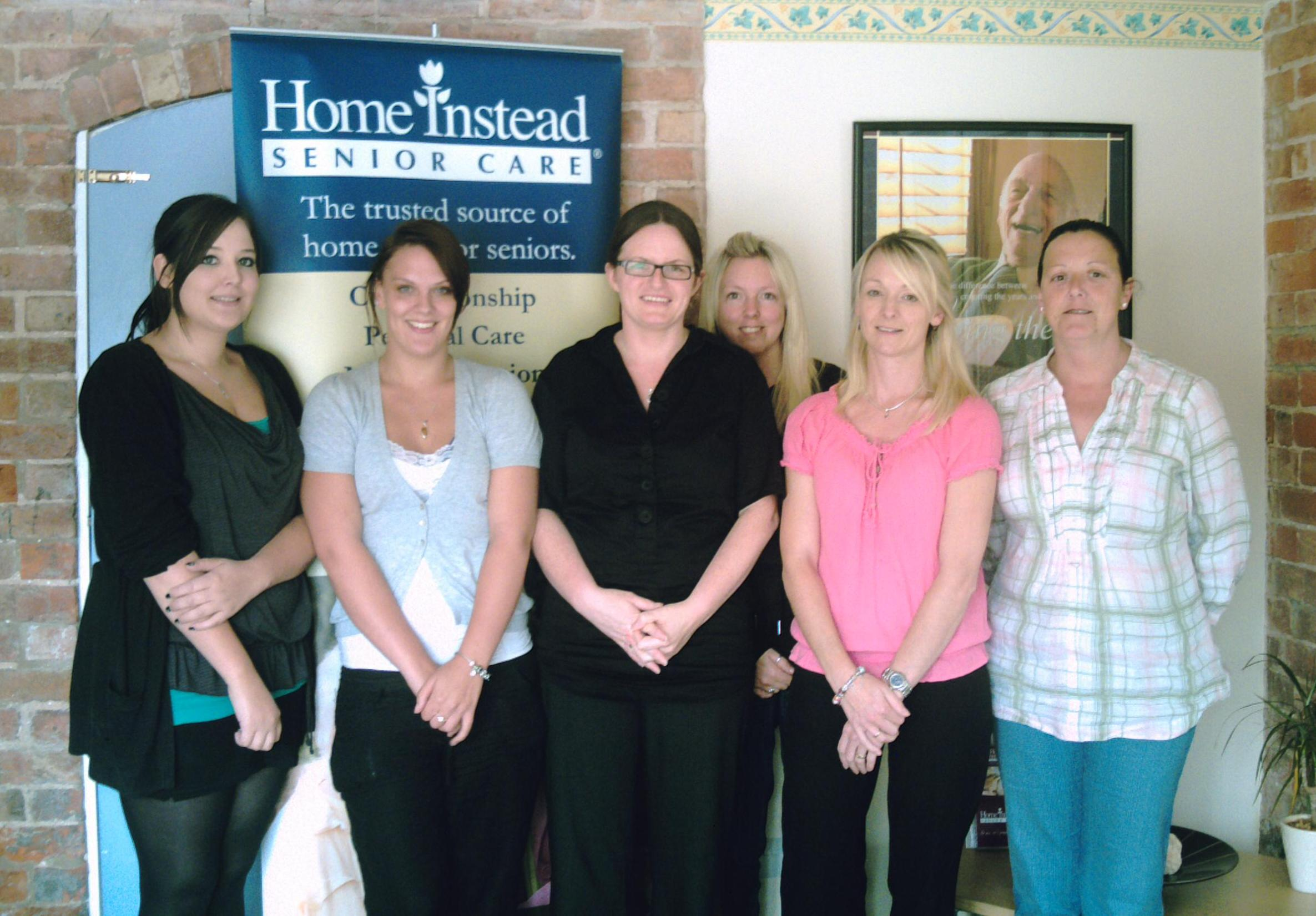 Home Instead Crewe Care Manager Kirsty Worrall, senior CAREgiver Sam Gough and latest recruits Harriet Fischer, Stephanie Smith, Vicky Jones and Janet Thomas