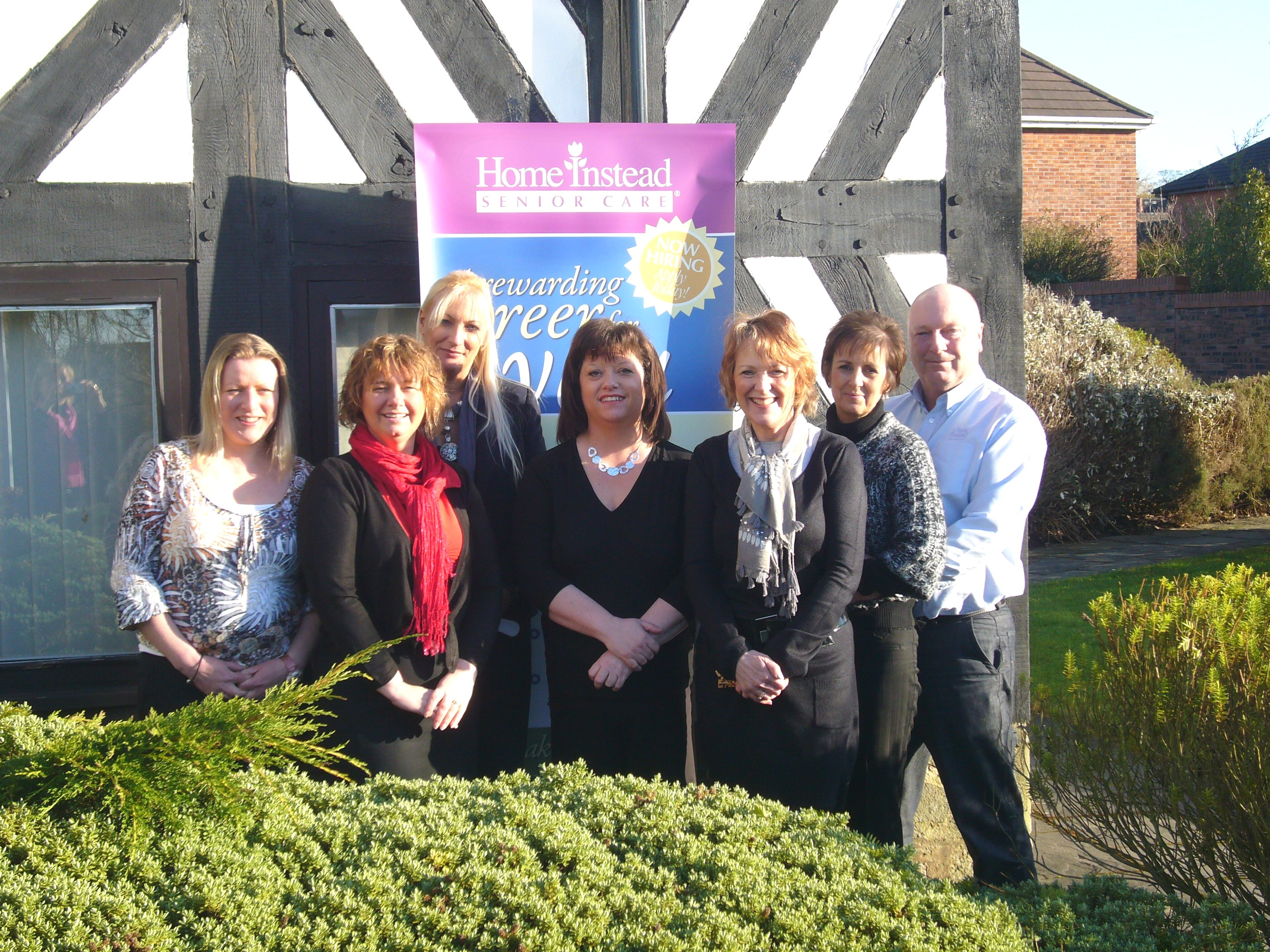 Home Instead Senior Care Macclesfield office team at their new premises at Tytherington Old Hall