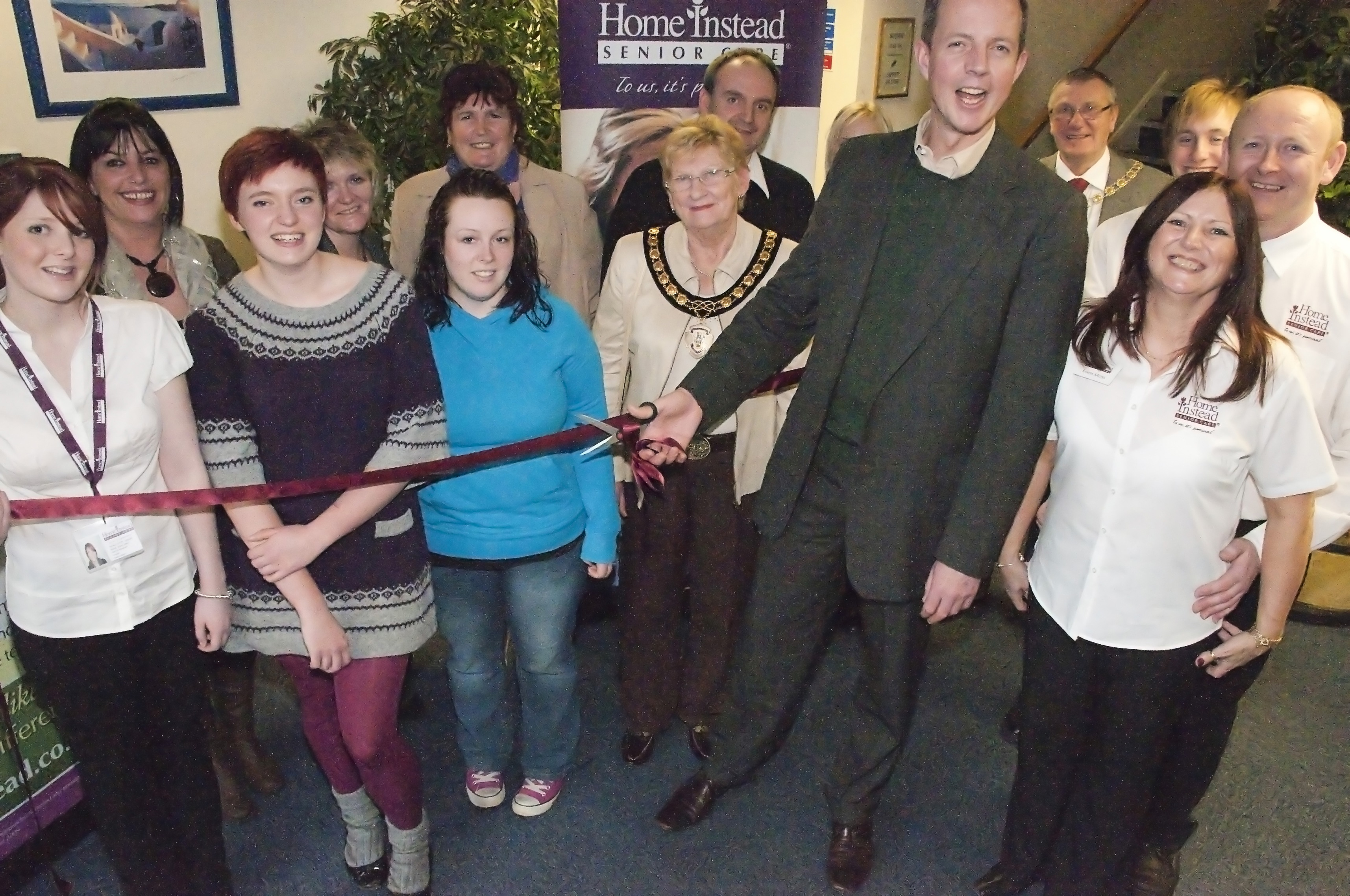 Home Instead Grantham team with Nick Boles MP and Mayor Mrs Pet Moisey