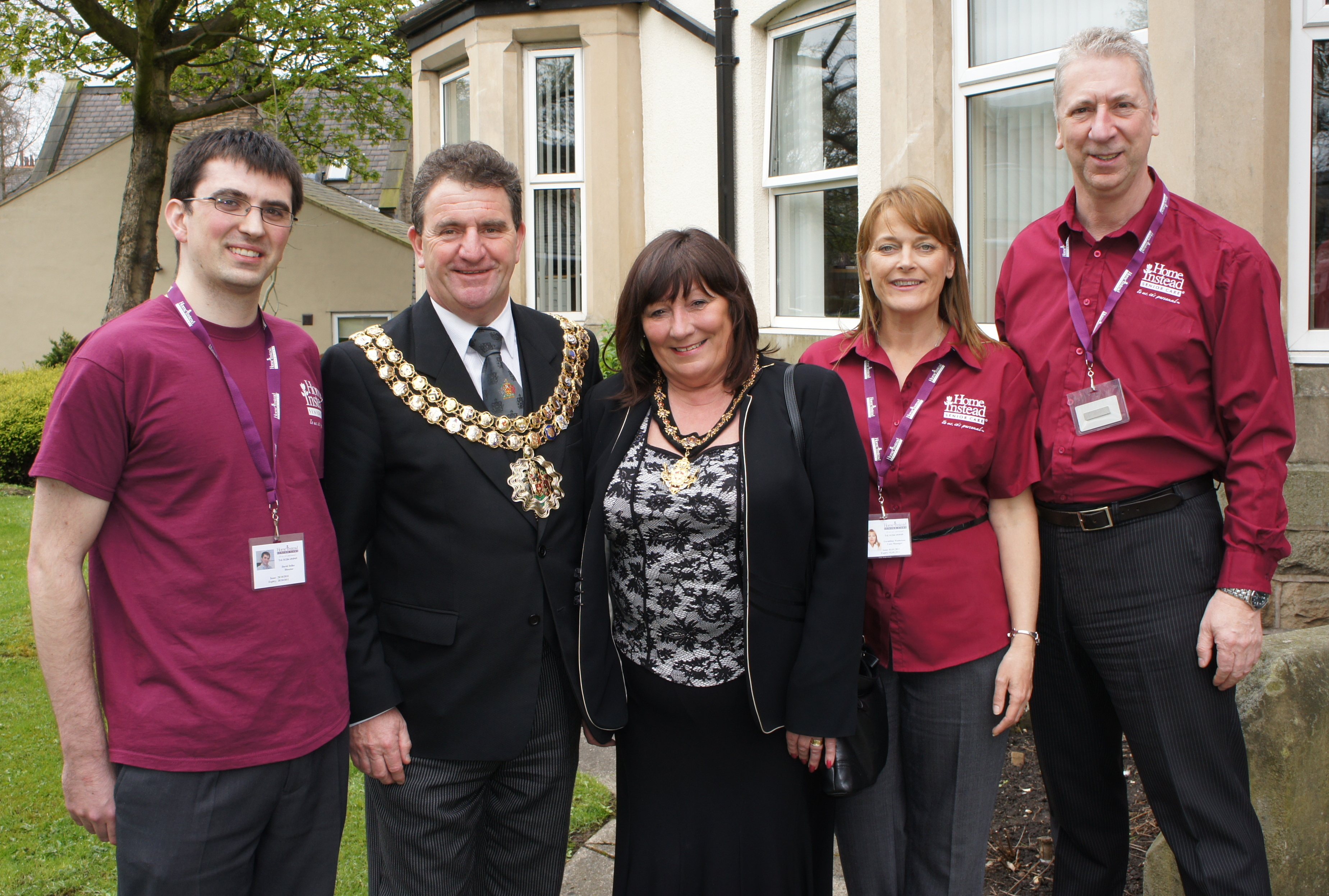 Home Instead Bolton team David Deller, Geraldine Watterson and Steve Williams with the Mayor and Mayoress of Bolton