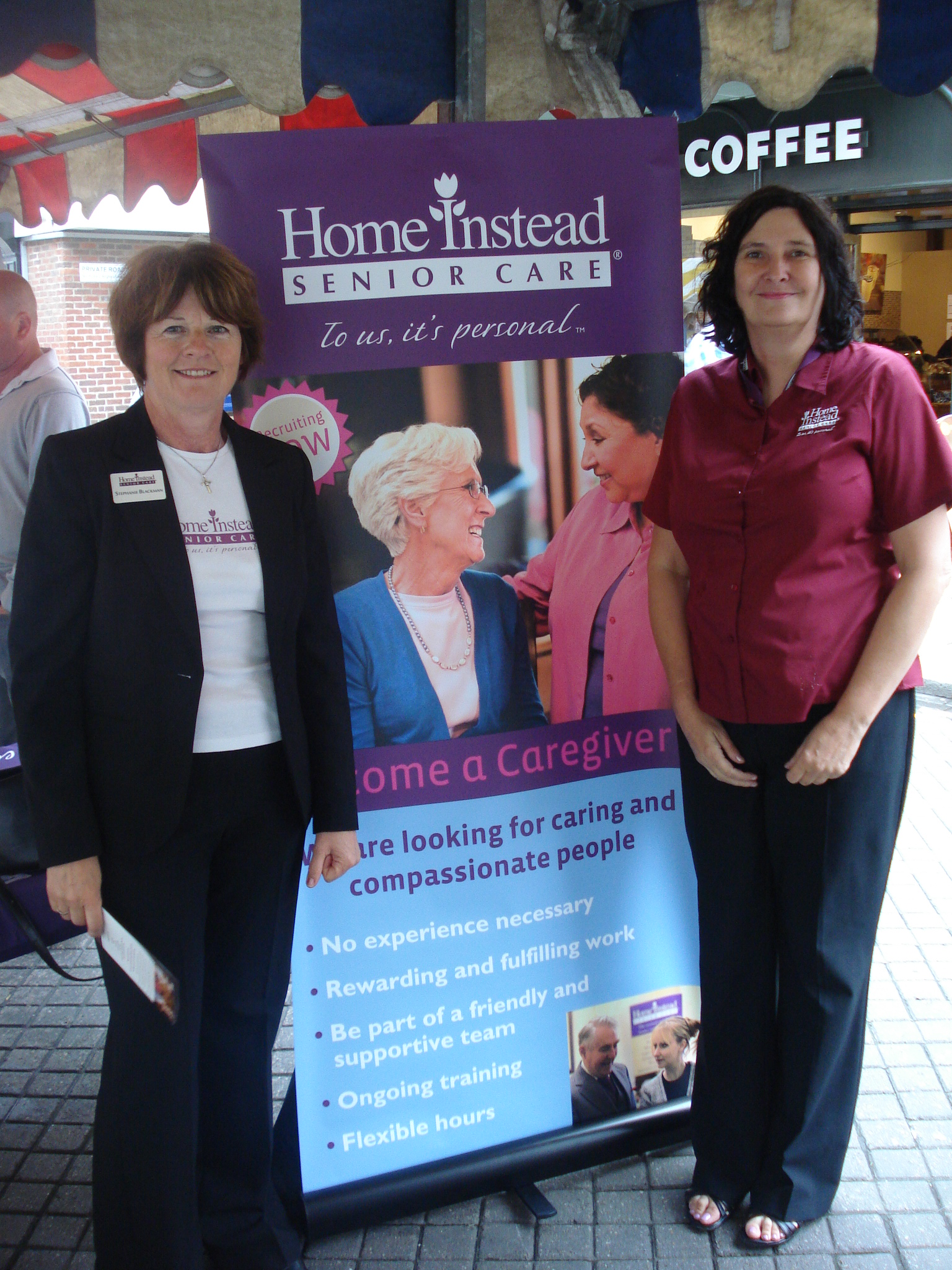 Networker for the Frinton Home Instead office Stephanie Blackman and Home Instead Senior Care Colchester owner Julie Price at the Wellbeing Market