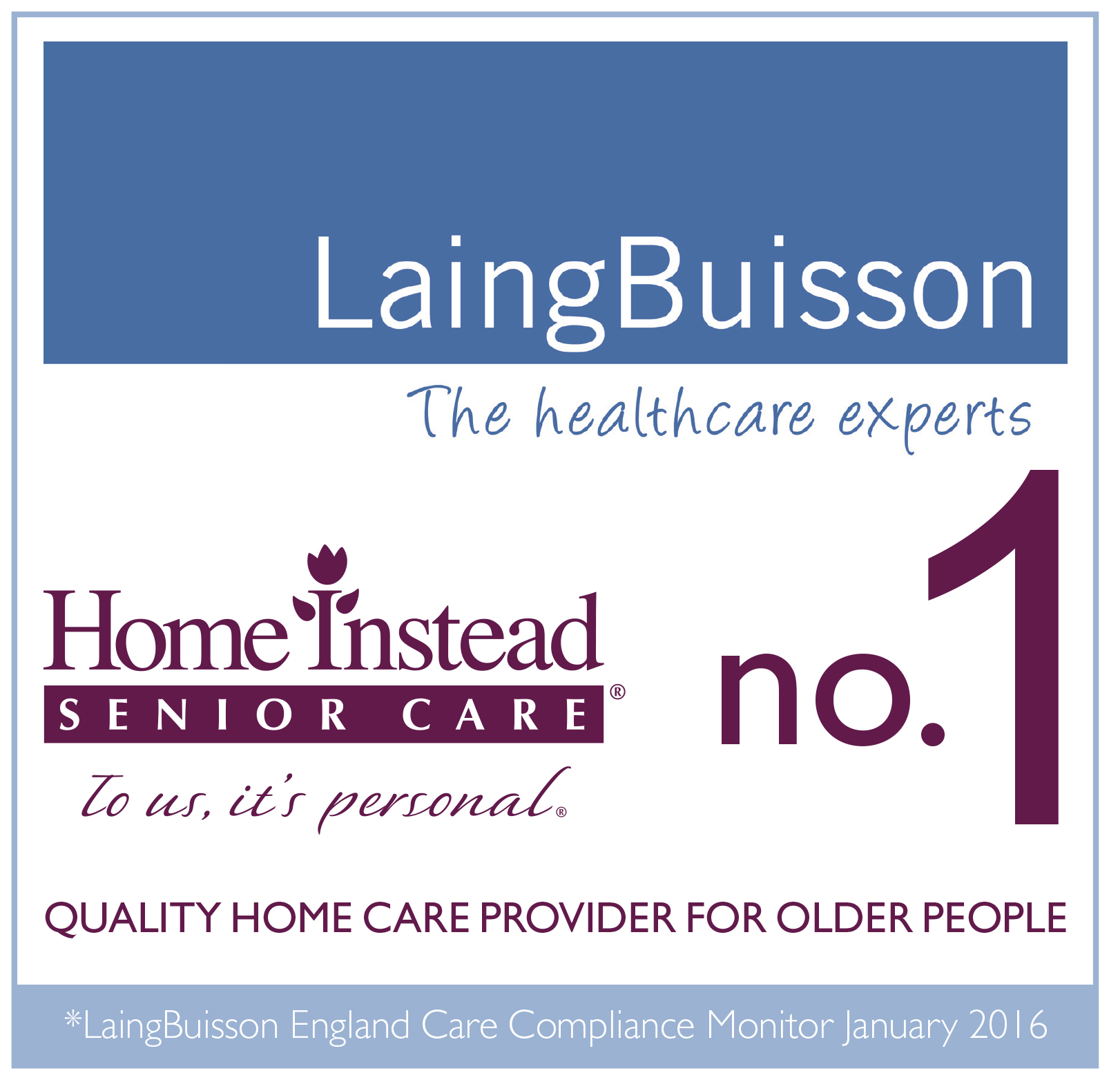 Laing Buisson no.1 Quality Home Care Provider for Older People logo