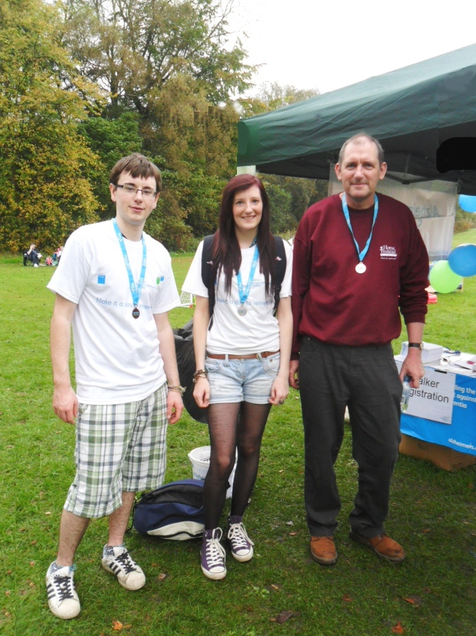 Home Instead Senior Care Rochdale owner David Bradshaw, son Ben and daughter Abigail at the Alzheimer's Society annual Memory Walk
