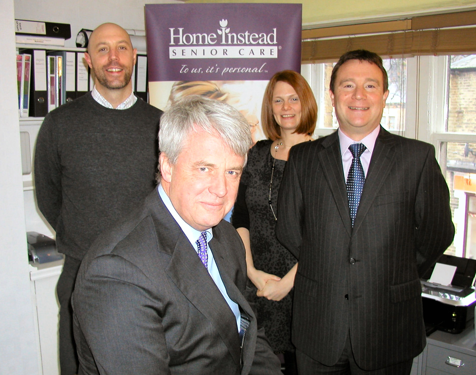 Secretary of State for Health Andrew Lansley, Home Instead CEO Trevor Brocklebank and Oldham and Saddleworth owner Mick Sheehan