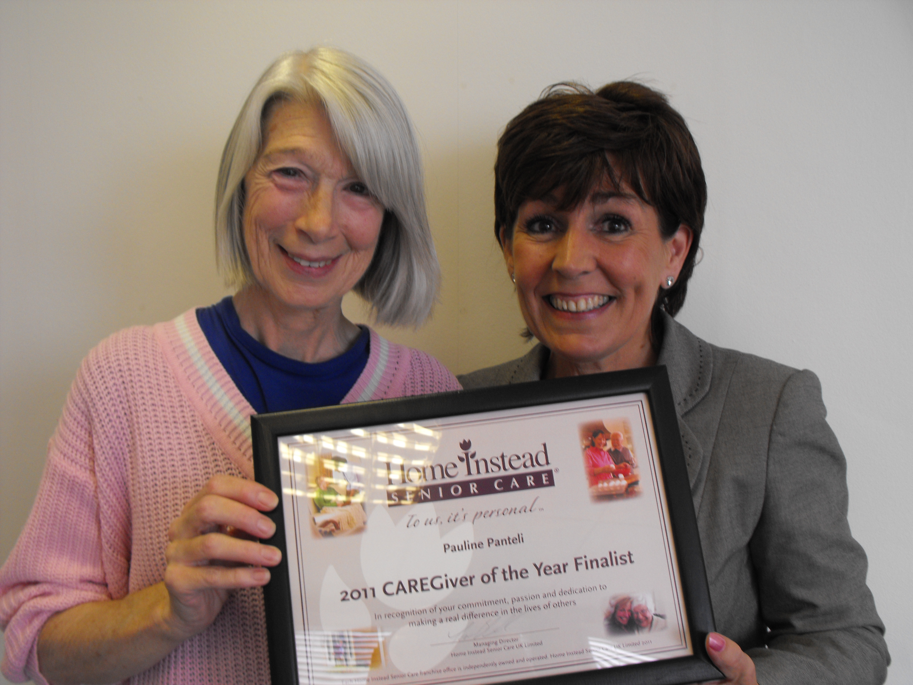 65-year-old Home Instead Barnet CAREgiver Pauline Panteli is one of the ten finalists of the 'Caregiver of the Year' award