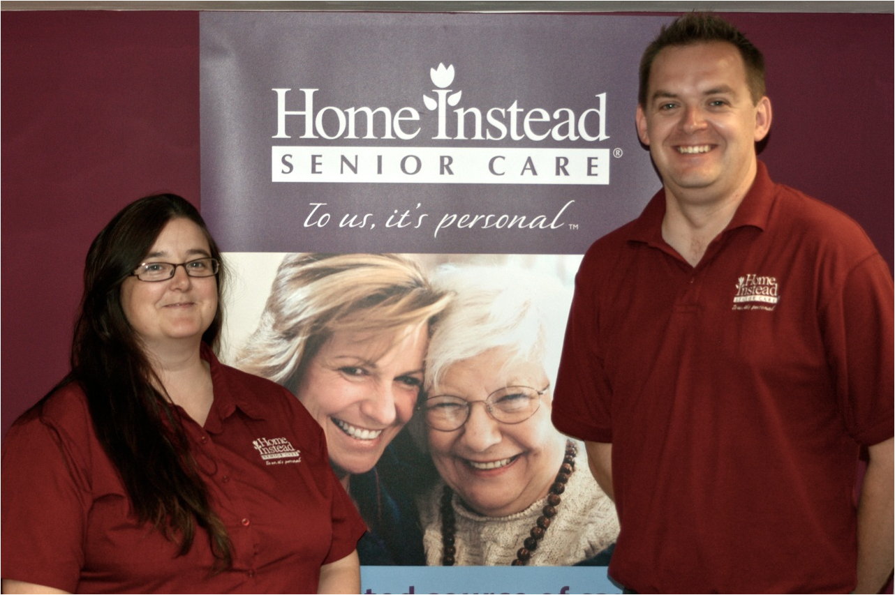 Home Instead Sawbridgeworth Care Manager Alison Boggas next to Head of Care and owner David Bassett