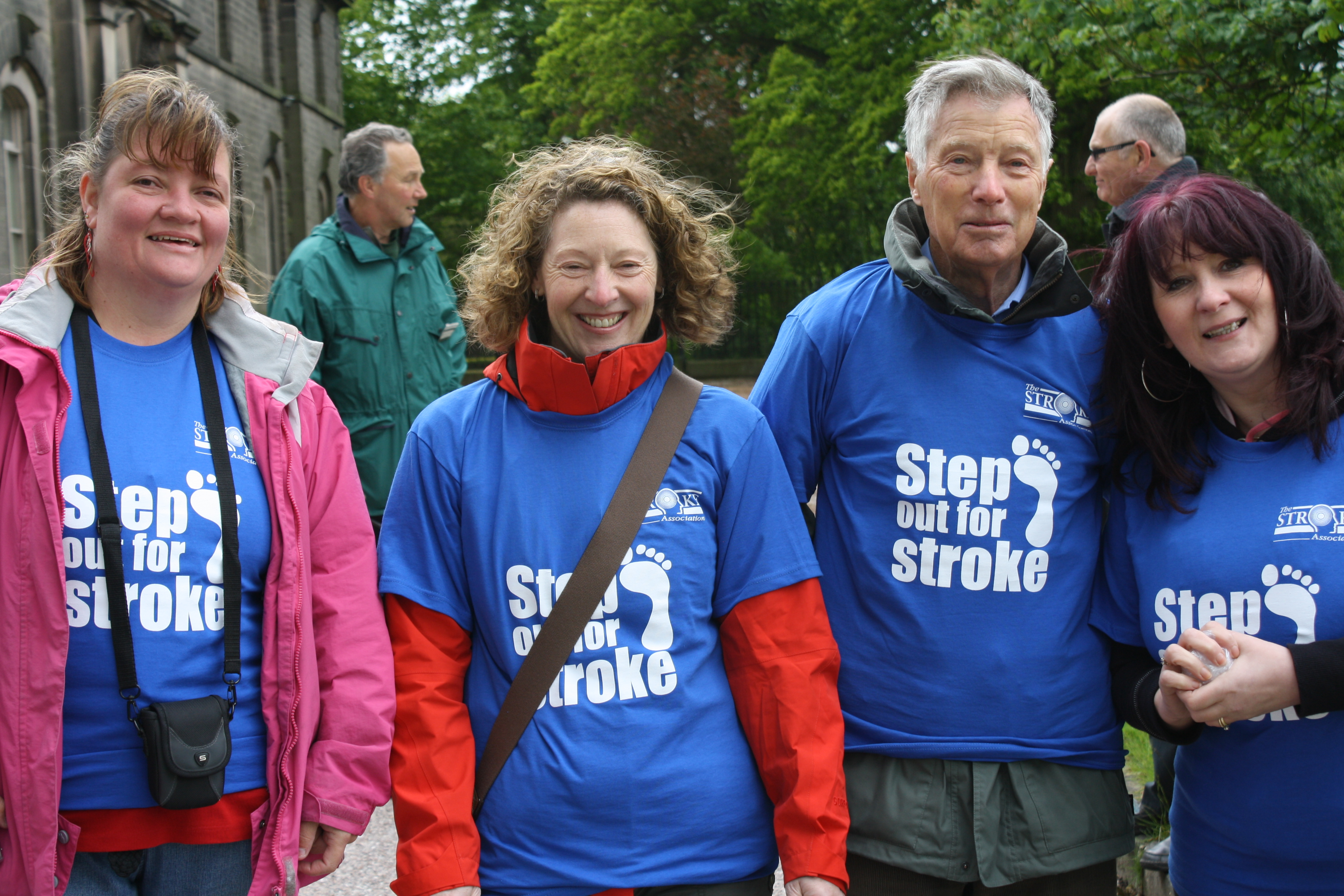 Home Instead Stockport co-owner Joanna Moore, Caregiver Sharon Leech, care manager Michele Bushell and James Cochrane, an 84 year old client at the Step out for Stroke walk